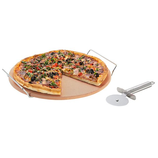 Avanti Pizza Baking Stone with Serving Rack and Cutter 33cm